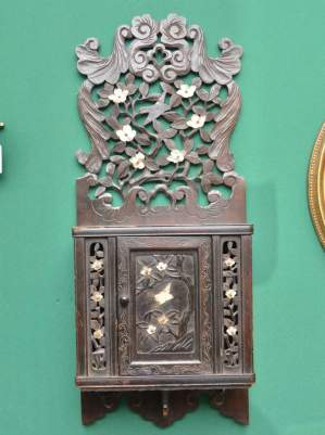 Oriental Carved Wall Cupboard with Mother of Pearl Decoration