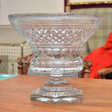 Heavily Cut Glass Pedestal Bowl image-1