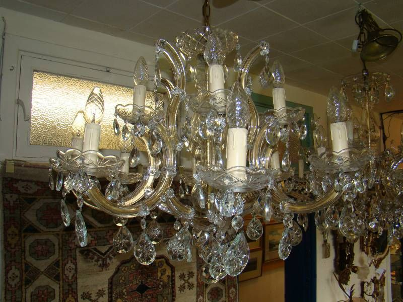 Beautiful french two tier crystal and glass chandelier