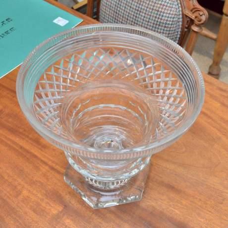 Heavily Cut Glass Pedestal Bowl image-4