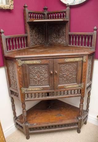 Antique Carved Oak Corner Cupboard image-1
