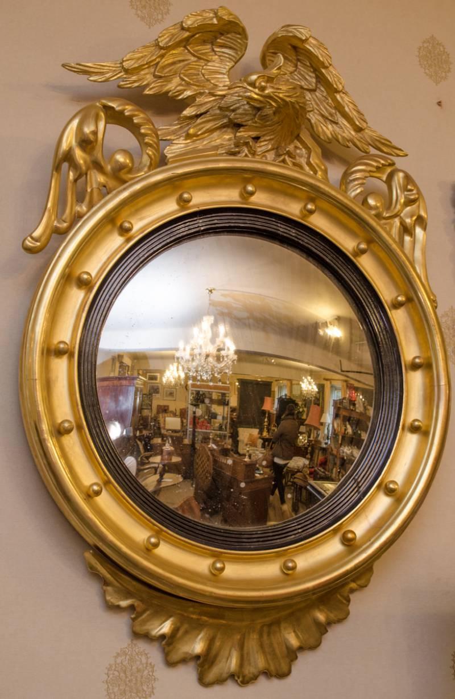 Georgian Giltwood Convex Wall Mirror Antique Mirrors