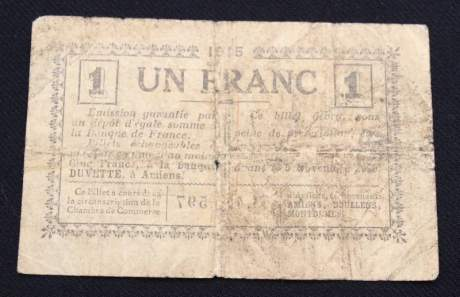 French One Franc Bank Note image-2