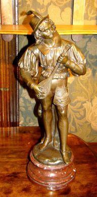 19th Century French Bronze Mandolin Player