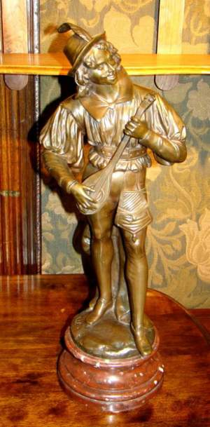 19th Century French Bronze Mandolin Player