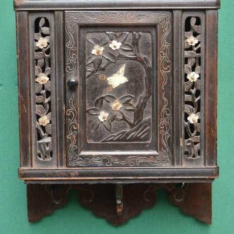 Oriental Carved Wall Cupboard with Mother of Pearl Decoration image-2