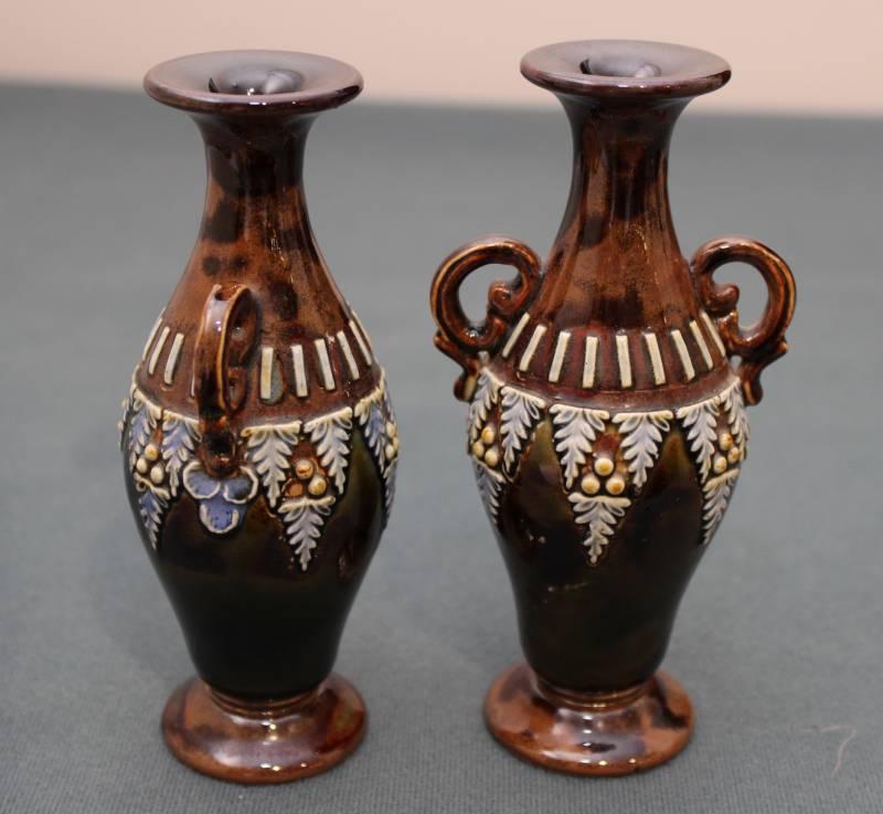 Small Pair Of Royal Doulton Stoneware Vases Antique Ceramics Hemswell Antique Centres