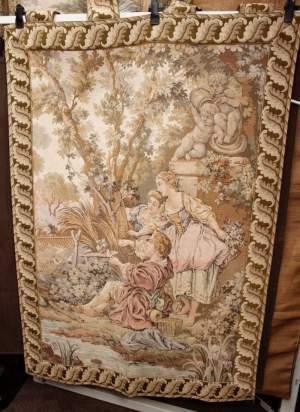 French Tapestry Garden and Stream Scene
