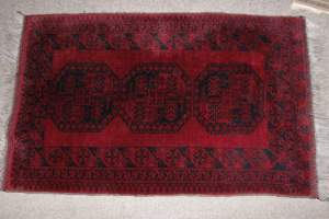 Old Hand Knotted Afghan Turkoman Rug