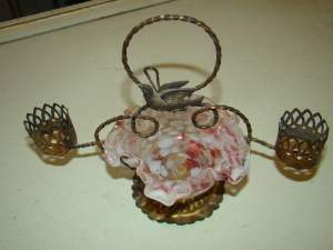 Early French Cranberry Glass Candy Trinket Holder