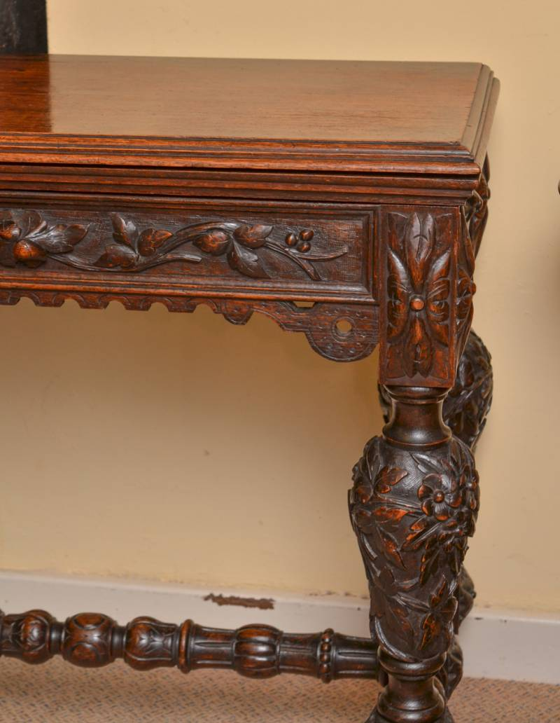Super deeply carved oak card table antique tables