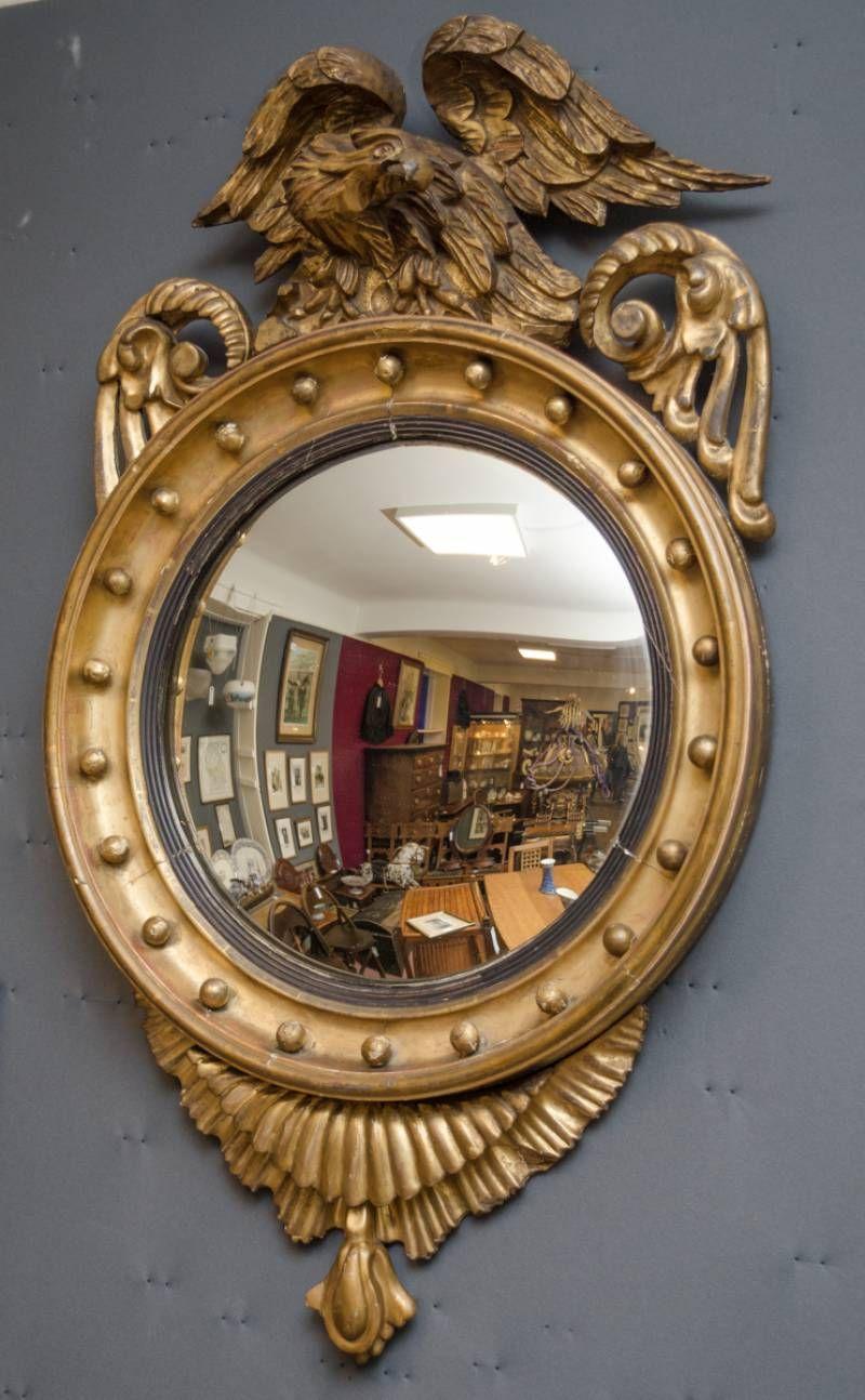 19th Century Giltwood Convex Mirror