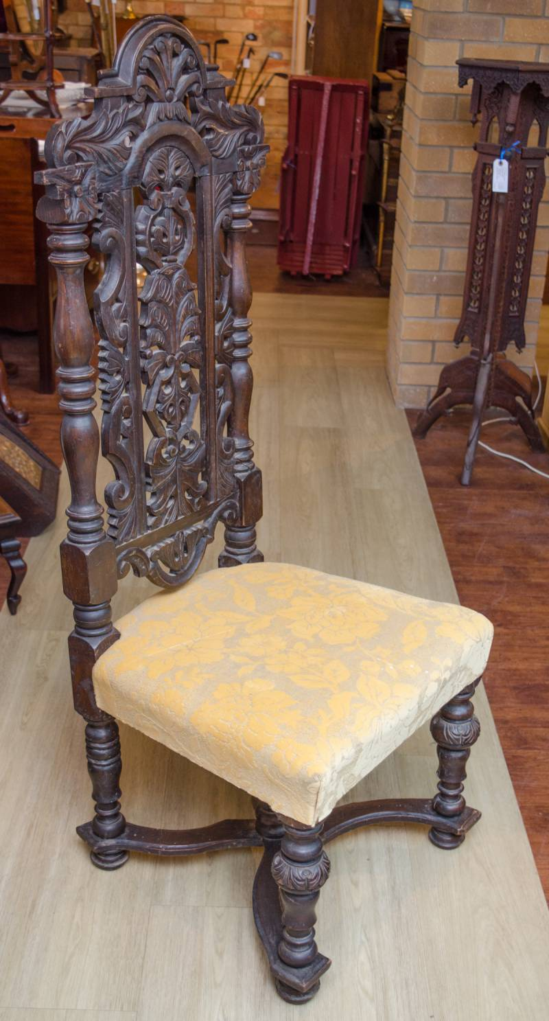 Pair Of Jacobean Style High Back Hall Chairs Antique