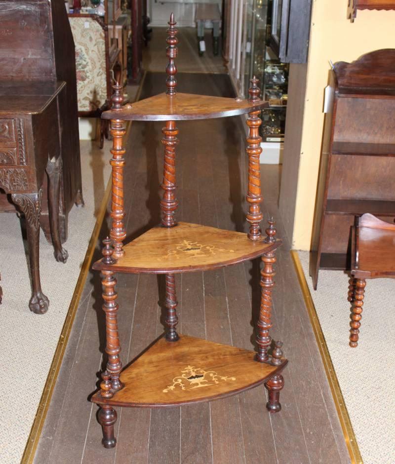Victorian Inlaid Mahogany Three Shelf What Not