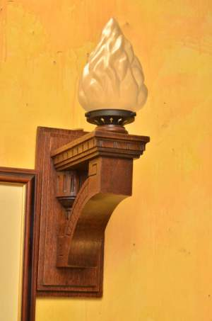Edwardian Oak Wall Light with Flame Shade
