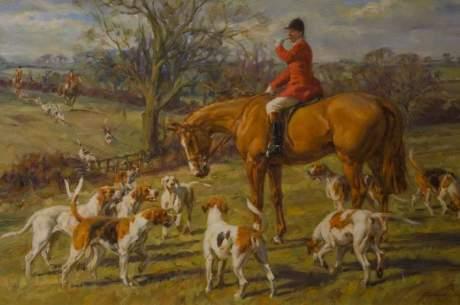 Huntsman on Chestnut Hunter by Frederick J Haycock image-2