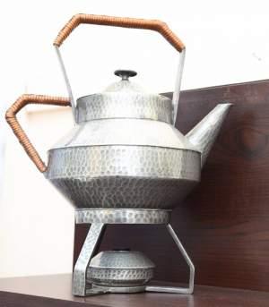 Art Deco Pewter Tea Kettle on Stand