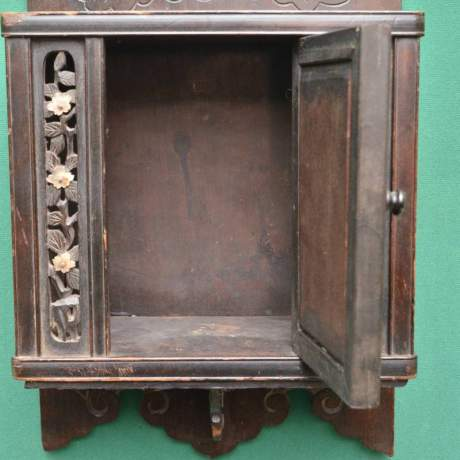Oriental Carved Wall Cupboard with Mother of Pearl Decoration image-3
