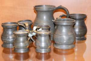 Set of Eight Antique Pewter Measures