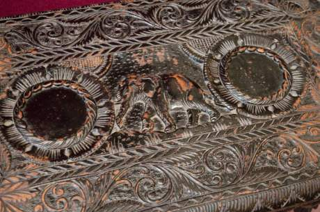 Heavily Carved Black Lacquered Table image-2