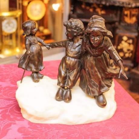 Bronze and Marble of Children at Play image-1