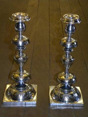 Rare Pair of Russian Alter Candlesticks image-1