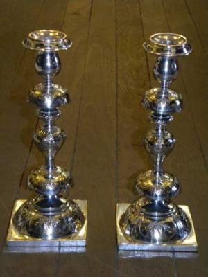 Rare Pair of Russian Alter Candlesticks