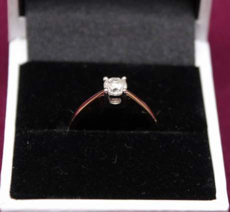18ct Gold Diamond Solitaire Ring image-2