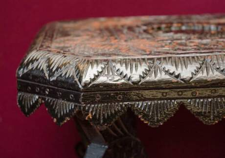 Heavily Carved Black Lacquered Table image-4