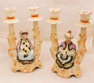 Pair of 19th Century Bisque Candelabra with Nodding Heads