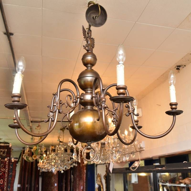 Large brass eagle mounted six branch chandelier