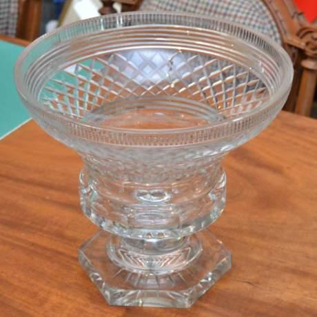 Heavily Cut Glass Pedestal Bowl image-2