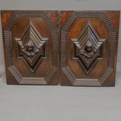 Pair of Good Large Carved Wooden Panels image-1