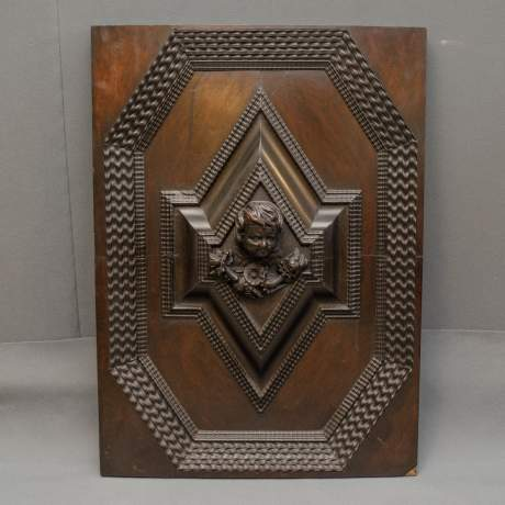 Pair of Good Large Carved Wooden Panels image-2