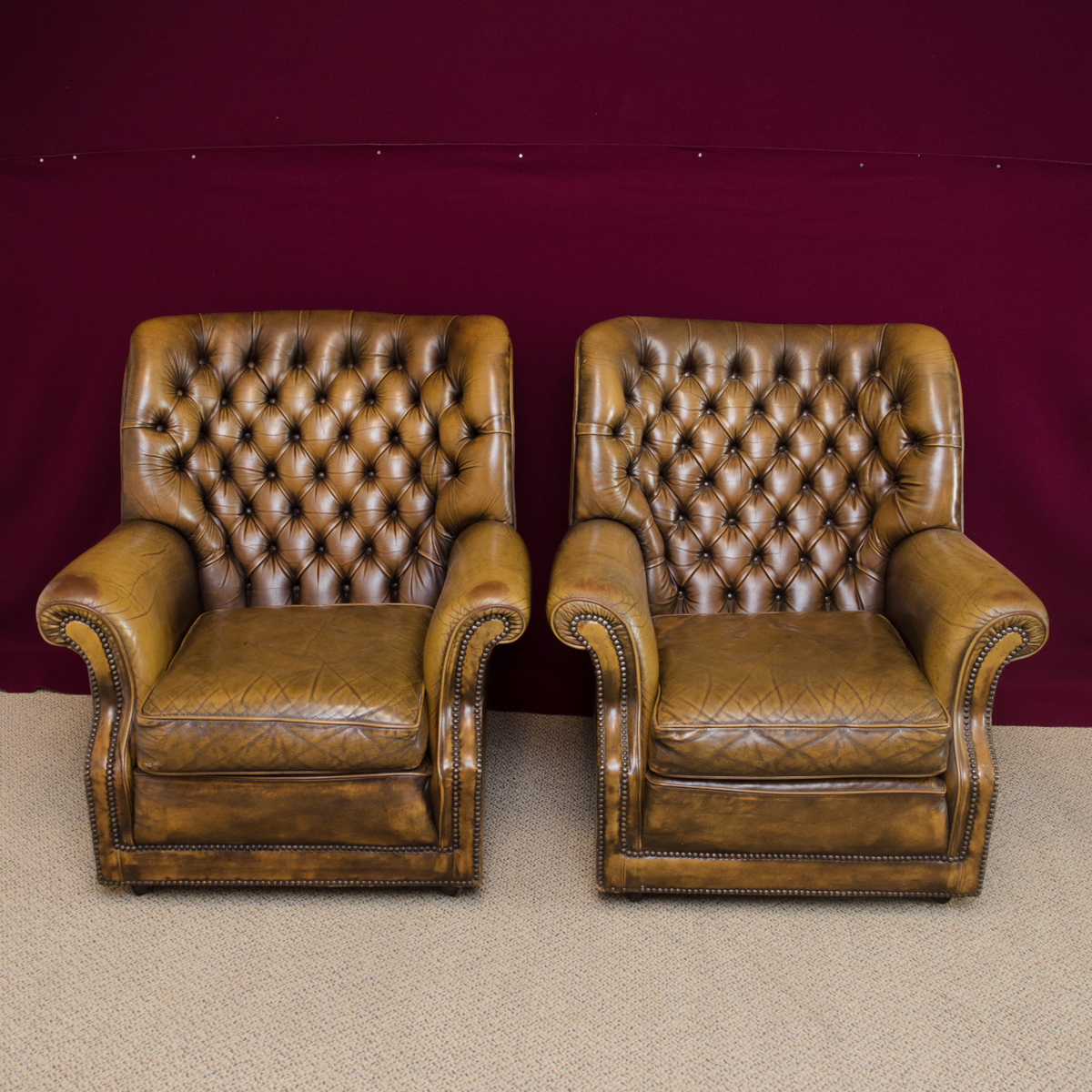 vintage pair of leather club chesterfield armchairs antique chairs hemswell antique centres. Black Bedroom Furniture Sets. Home Design Ideas