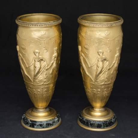 Pair of Neo Classical Gilt Bronze Vases image-1