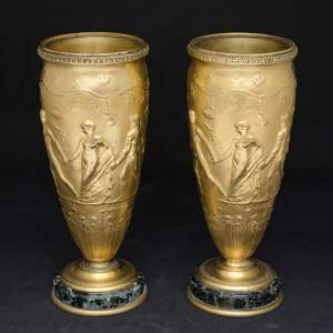 Pair of Neo Classical Gilt Bronze Vases