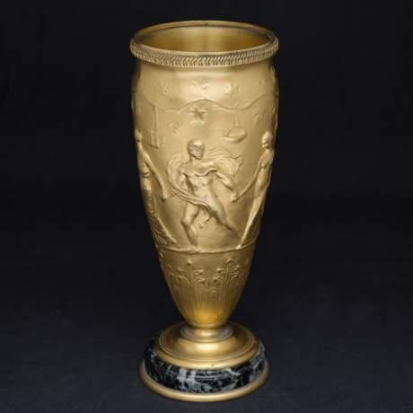 Pair of Neo Classical Gilt Bronze Vases image-2