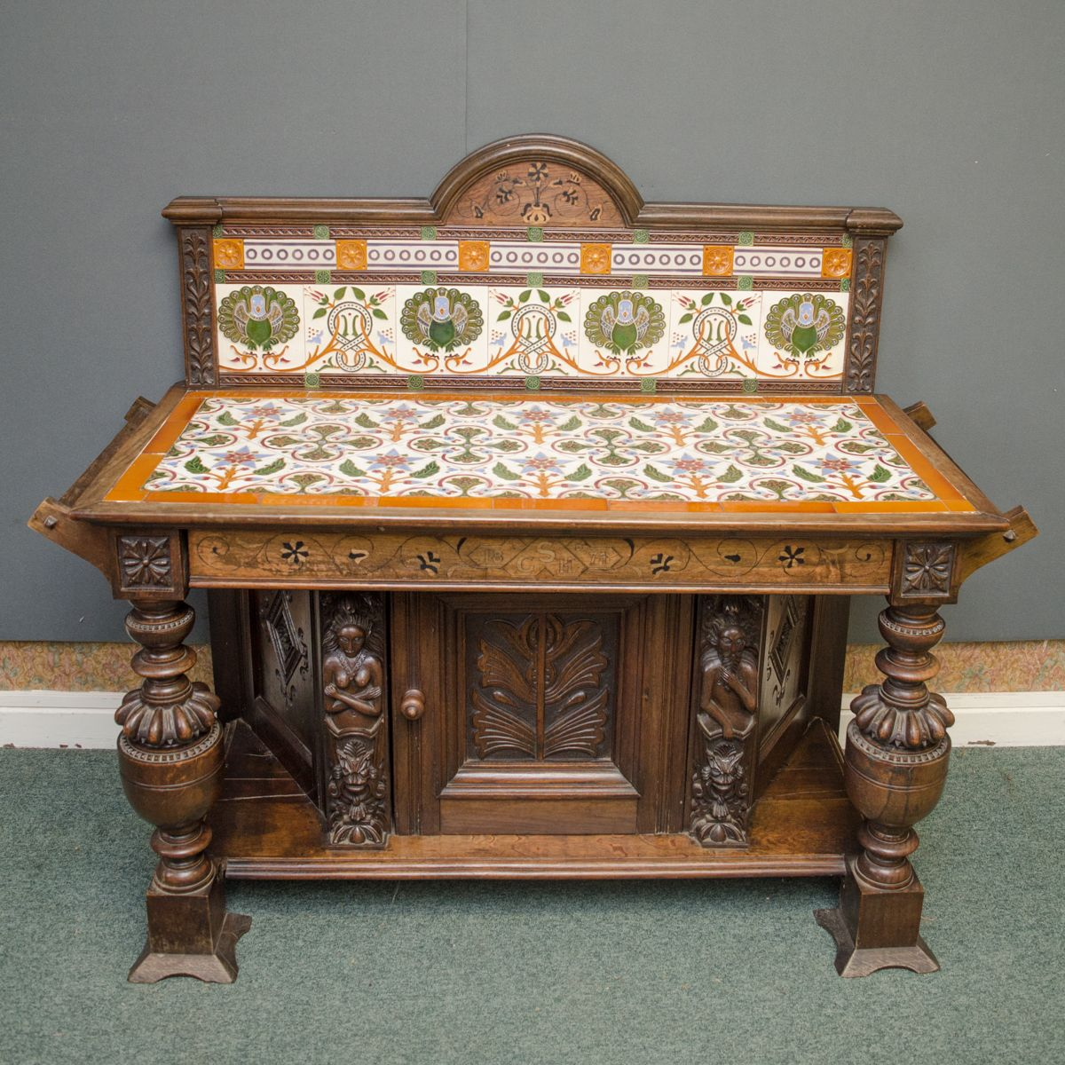 Arts and crafts carved oak washstand furniture etc for Furniture etc