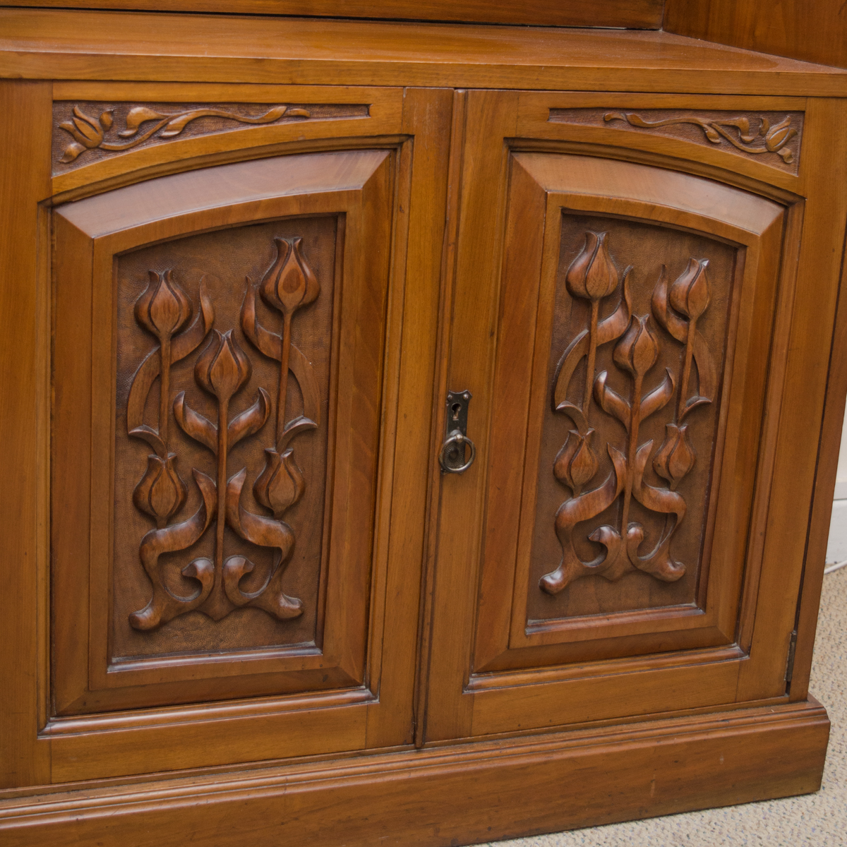 Art nouveau carved walnut cabinet antique cabinets for Carved kitchen cabinets