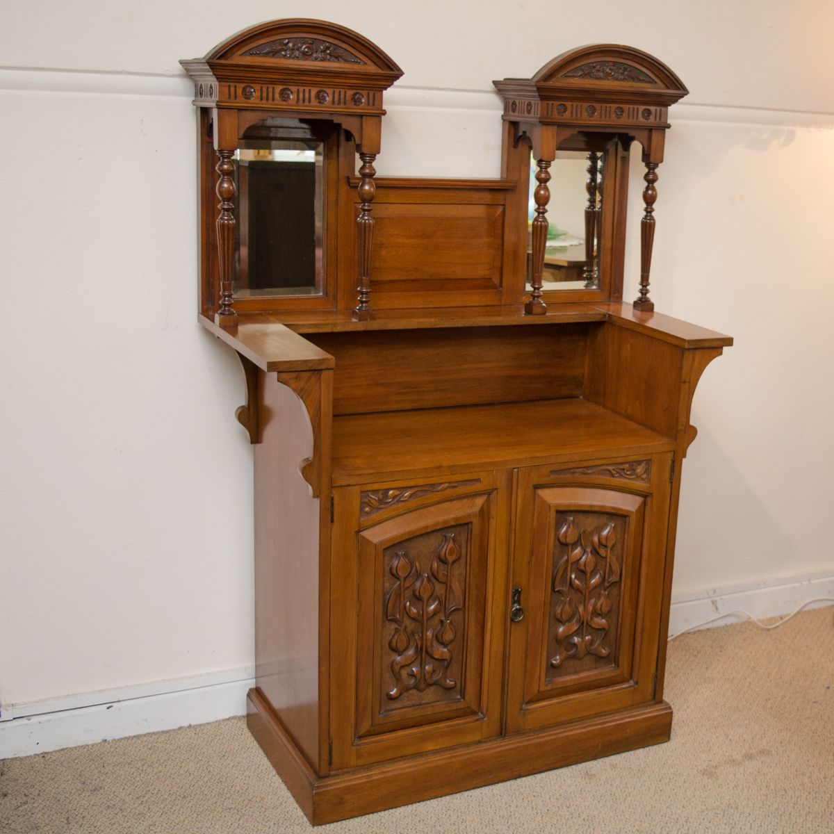 art nouveau carved walnut cabinet furniture etc