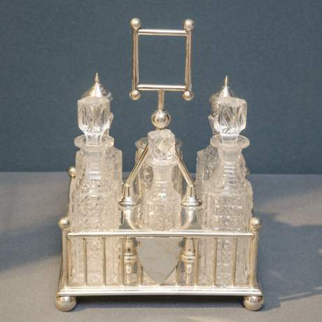 Victorian Six Bottle Silver Plated Cruet Set image-1