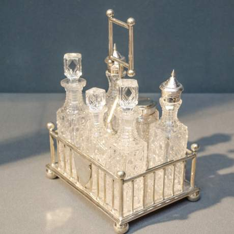 Victorian Six Bottle Silver Plated Cruet Set image-2