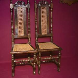 Good Pair of George II High Back Hall Chairs