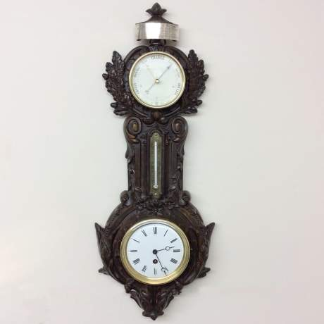 1875 Timepiece, Barometer & Thermometer in a Cast Iron Case image-1
