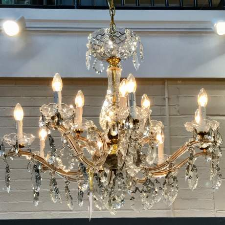 French Glass and Crystal Draped 12 Branch Chandelier image-1