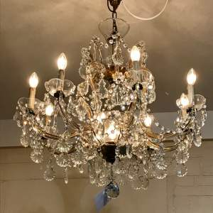 French Eight Branch Crystal Chandelier With Central Uplighter