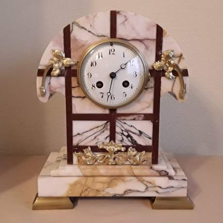 French Art Deco Marble Clock Set image-1