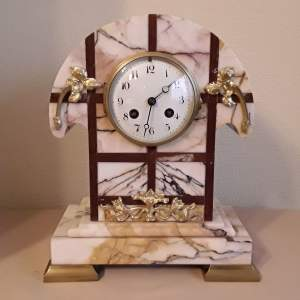 French Art Deco Marble Clock Set