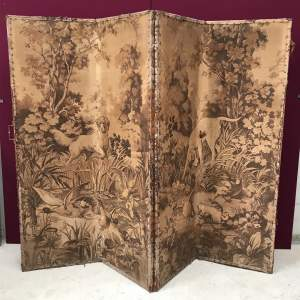 19th Century Embroidered Folding Screen